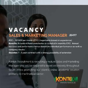 Sales & Marketing Manager Jobs In Midrand